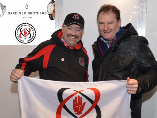 URSC Chairman Jonathan Bill was pleased to STAND UP for the Ulster Men with Director of Gardiner Brothers Jewellers, Iain Warke at the recent Pro-12 match v Treviso
