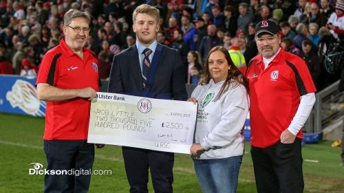Rob received the bursary at half-time in the Ulster v Cardiff Blues match on 7 April from URSC Committee members, (L-R) Ken Arthur, Lynn Wilson & Jonathan Bill